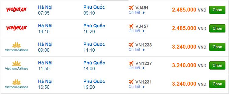 Chi tiết giá vé đi Phú Quốc hãng Vietnam Airlines, Vietjet Air, Jetstar tháng 04