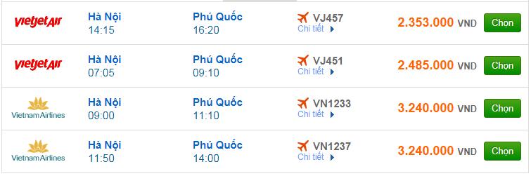 Chi tiết giá vé đi Phú Quốc hãng Vietnam Airlines, Vietjet Air, Jetstar tháng 05