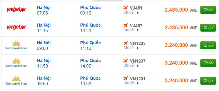 Chi tiết giá vé đi Phú Quốc hãng Vietnam Airlines, Vietjet Air, Jetstar tháng 08