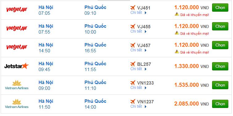 Chi tiết giá vé đi Phú Quốc hãng Vietnam Airlines, Vietjet Air, Jetstar tháng 01