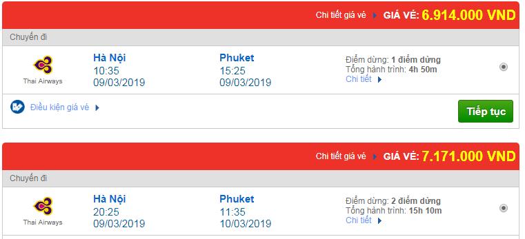 Vé máy bay đi Phuket, Thái Lan hãng Thai Airways