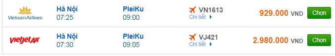 Ggiá vé máy bay Hà Nội đi Pleiku