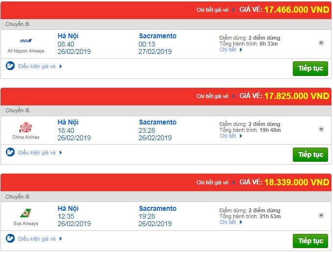 Giá vé máy bay từ Hà Nội đi Sacramento, Mỹ mới nhất