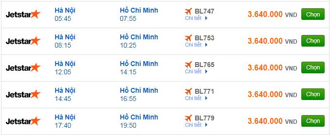 Vé máy bay Jetstar Pacific đi TPHCM