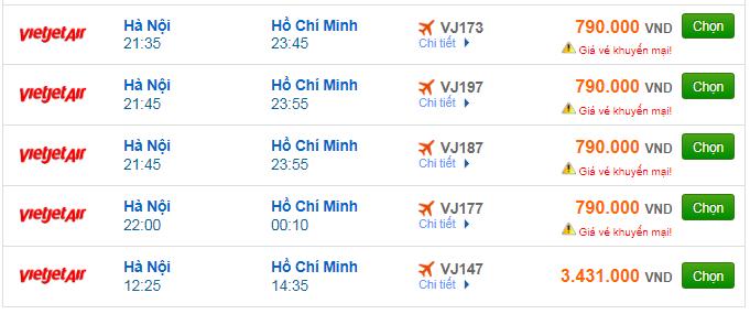 Vé máy bay Vietjet Air đi Sài Gòn