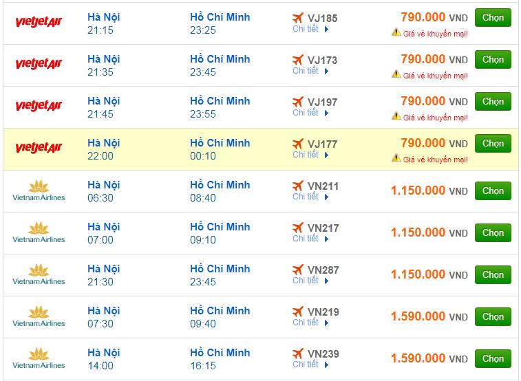 Chi tiết giá vé đi Sài Gòn hãng Vietnam Airlines, Vietjet Air, Jetstar tháng 01