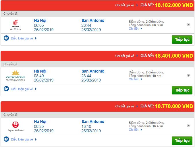 Giá vé máy bay từ Hà Nội đi San Antonio, Mỹ mới nhất