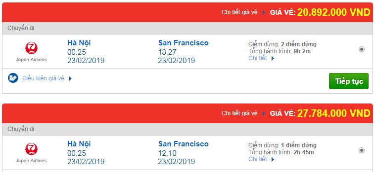 vé máy bay Việt nam đi San Francisco
