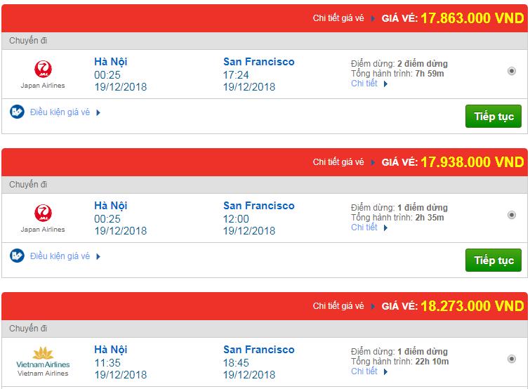 Chi tiết giá vé đi Mỹ tháng 12