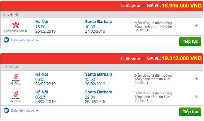 Giá vé máy bay Hà Nội đi Santa Barbara, Mỹ mới nhất