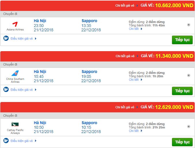 Giá vé máy bay đi Sapporo, Nhật Bản một số hãng hàng không quốc tế