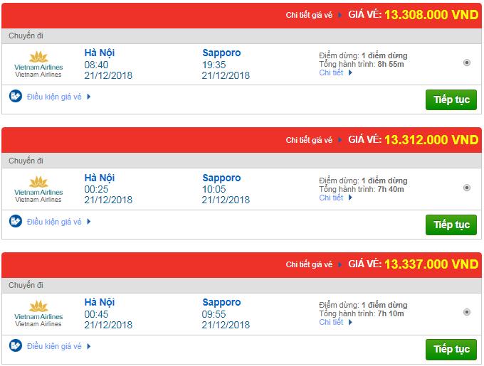 Giá vé máy bay đi Sapporo, Nhật bản hãng Vietnam Airlines