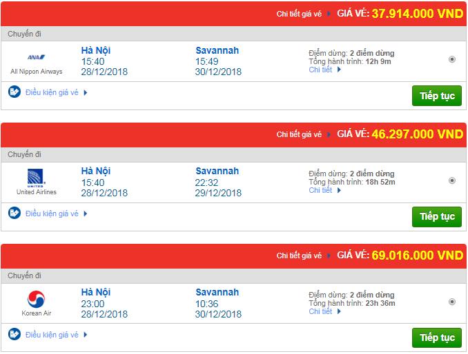 Giá vé máy bay Hà Nội đi Savannah, Mỹ mới nhất