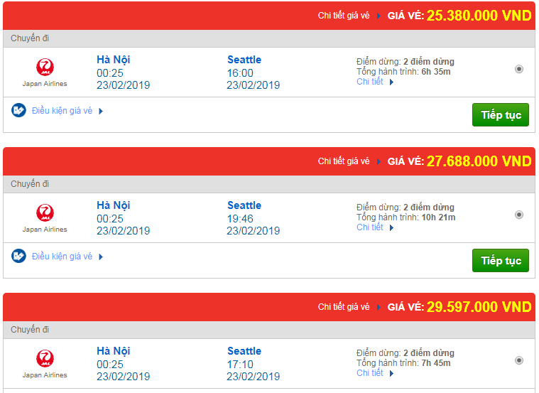 giá vé máy bay Việt Nam đi Seattle