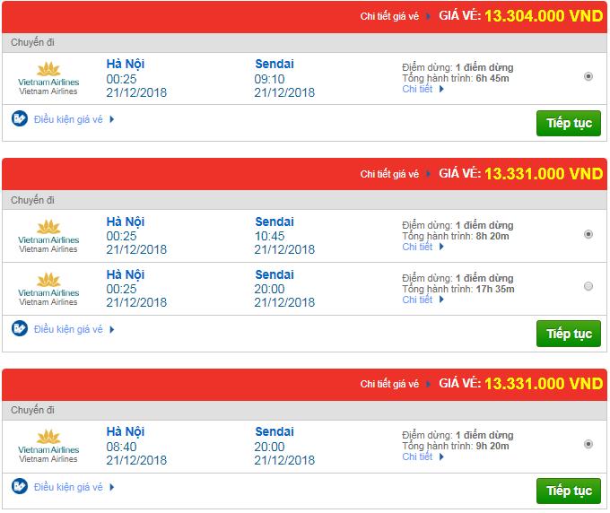 Thông tin giá vé máy bay đi Sendai mới nhất của Vietnam Airlines