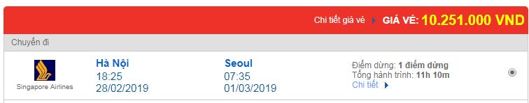 Vé máy bay đi Seoul, Hàn Quốc hãng Singapore Airlines