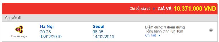 Vé máy bay đi Seoul, Hàn Quốc hãng Thai Airways
