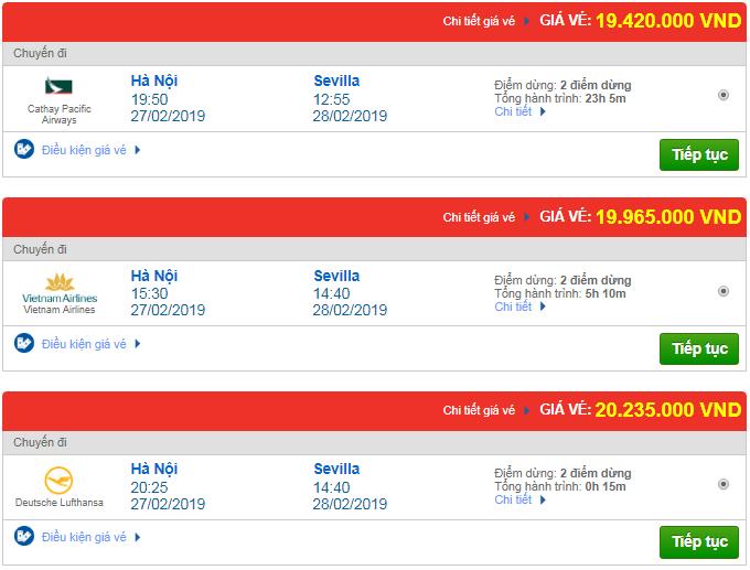 Giá vé máy bay Hà Nội đi Sevilla, Tây Ban Nha mới nhất