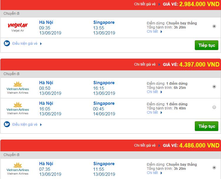 Chi tiết giá vé đi Singapore hãng Vietnam Airlines, Vietjet Air, Jetstar tháng 06