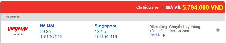 Chi tiết giá vé đi Singapore hãng Vietnam Airlines, Vietjet Air, Jetstar tháng 10