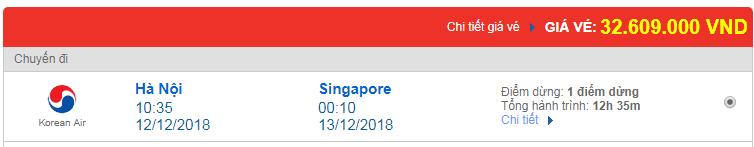 Vé máy bay Việt Nam đi Singapore Korean Air