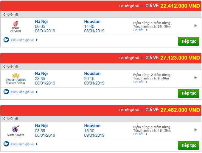 Giá vé máy bay từ Hà Nội đi Texas, Mỹ mới nhất
