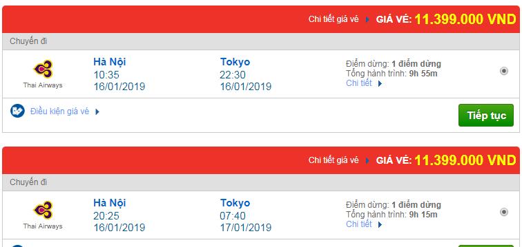 Vé máy bay đi Tokyo, Nhật Bản hãng Thai Airways