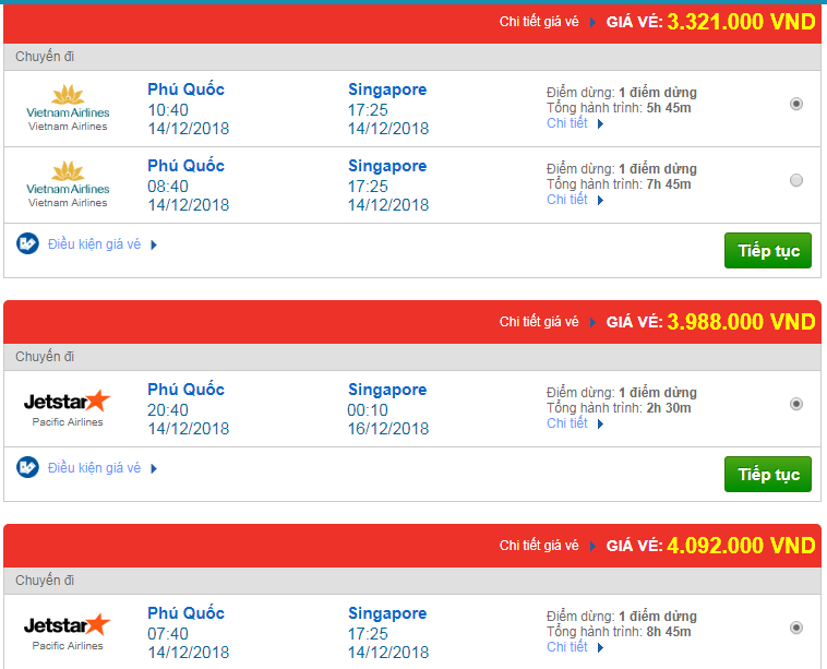 Chi tiết giá vé đi Singapore hãng Vietnam Airlines, Vietjet Air, Jetstar tháng 12