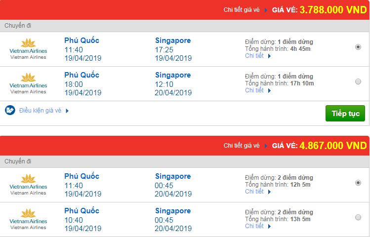 Chi tiết giá vé đi Singapore 3 hãng Vietnam Airlines, Vietjet Air, Jetstar tháng 04