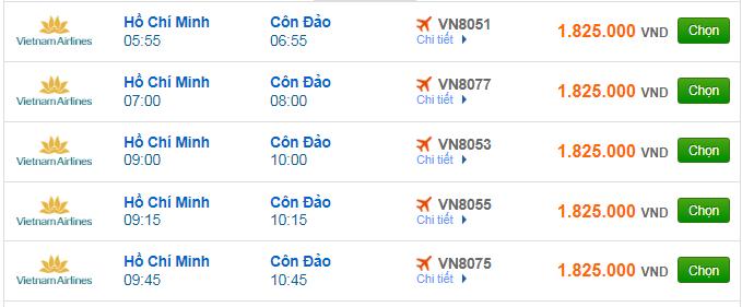 giá vé máy bay đi Côn Đảo hãng Vietnam Airlines