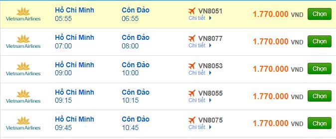 giá vé máy bay Sài Gòn đi Côn Đảo hãng Vietnam Airlines