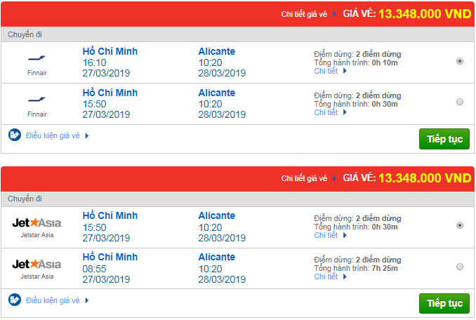 Thông tin giá vé máy bay đi Alicante mới nhất của các hãng quốc tế khác