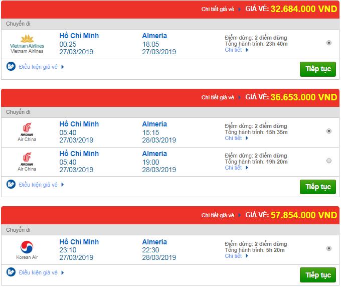 Giá vé máy bay từ TP.HCM đi Almeria, Tây Ban Nha mới nhất