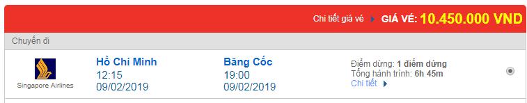 Giá Vé máy bay đi Bangkok, Thái Lan hãng Singapore Airlines