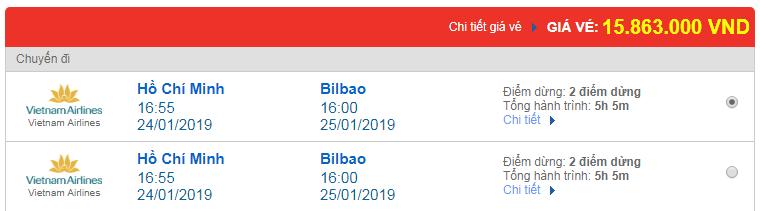 Giá vé máy bay Sài Gòn đi Bilbao, Tây Ban Nha
