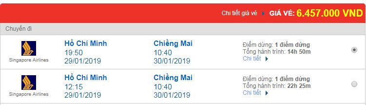 Giá Vé máy bay đi Chieng Mai, Thái Lan hãng Singapore Airlines