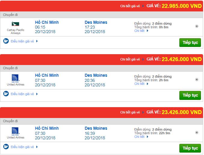 Giá vé máy bay TPHCM đi Des Moines, Mỹ mới nhất