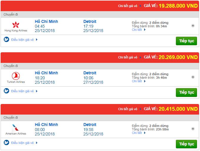 Giá vé máy bay TPHCM đi Detroit, Mỹ mới nhất