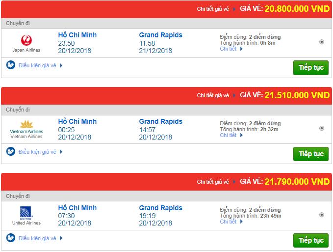 Giá vé máy bay từ TP.HCM đi Grand Rapids, Mỹ mới nhất