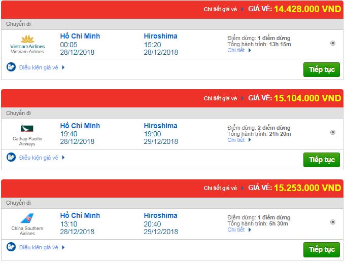 Giá vé máy bay từ TP.HCM đi Hiroshima, Nhật Bản mới nhất