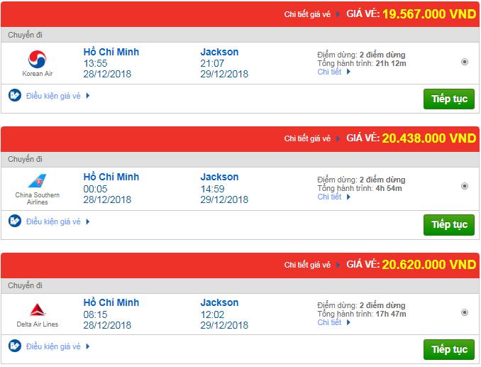 Thông tin giá vé máy bay TP.HCM đi Jackson, Mỹ mới nhất
