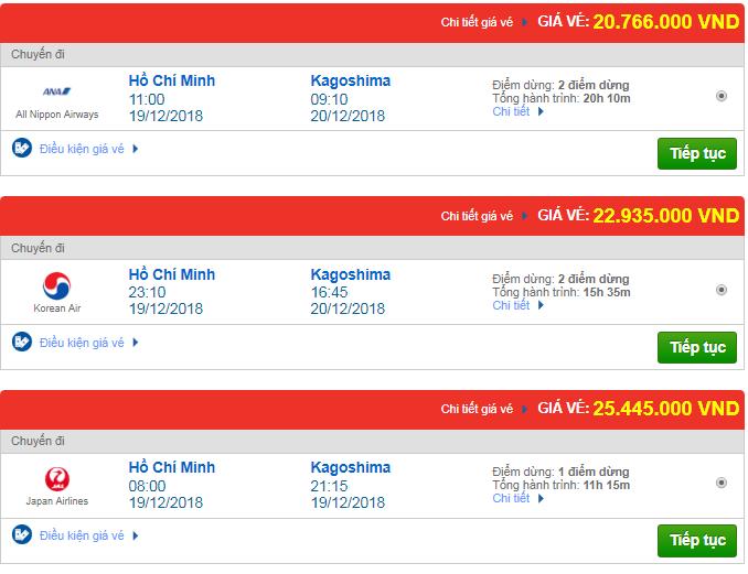 Vé máy bay đi Kagoshima, Nhật Bản của một số hãng quốc tế khác
