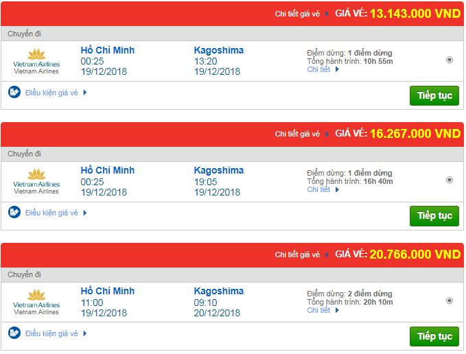 Vé máy bay đi Kagoshima, Nhật Bản của Vietnam Airlines có giá bao nhiêu?