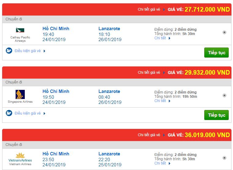 giá vé máy bay Sài Gòn đi Arrecife, Tây Ban Nha