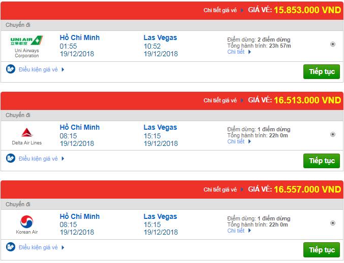Giá vé máy bay từ TP.HCM đi Las Vegas, Mỹ mới nhất