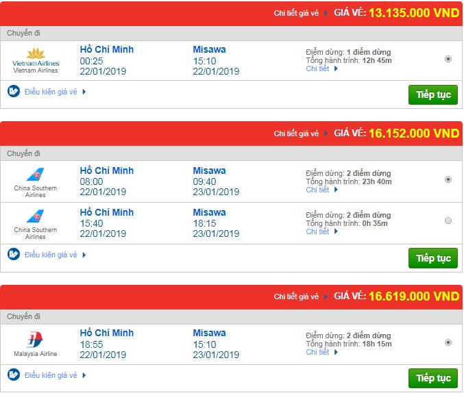 Giá vé máy bay Tp.HCM đi Masawa, Nhật Bản mới nhất