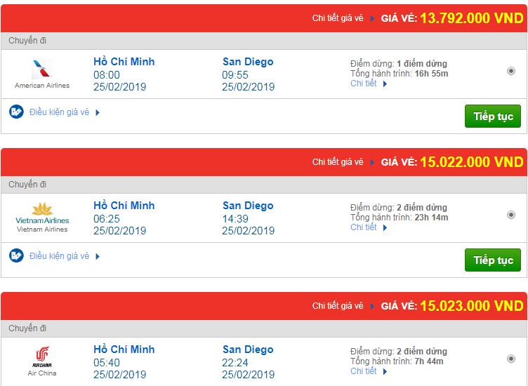 Chi tiết giá vé đi Mỹ tháng 02