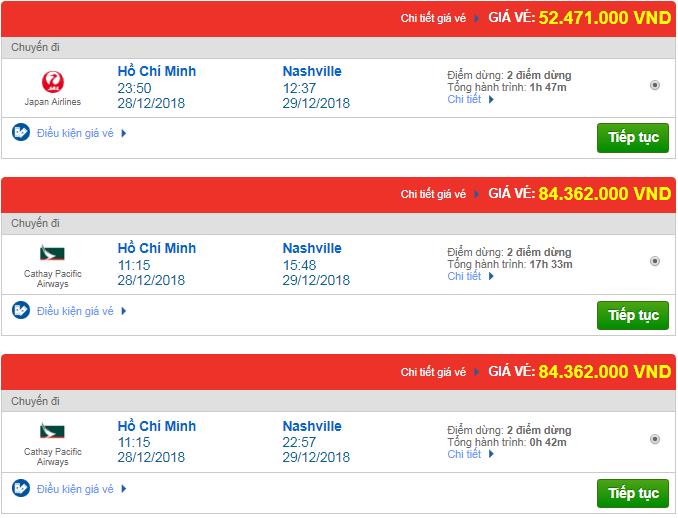 Giá vé máy bay từ TP.HCM đi Nashville, Mỹ mới nhất