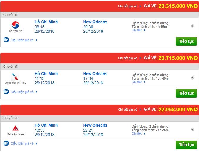 Giá vé máy bay TPHCM đi New Orleans, Mỹ mới nhất
