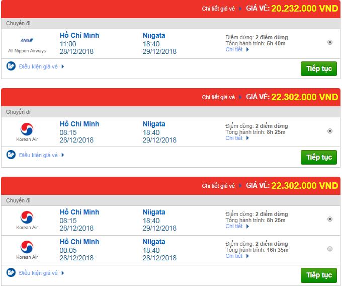 Giá vé máy bay TPHCM đi Niigata, Nhật Bản mới nhất